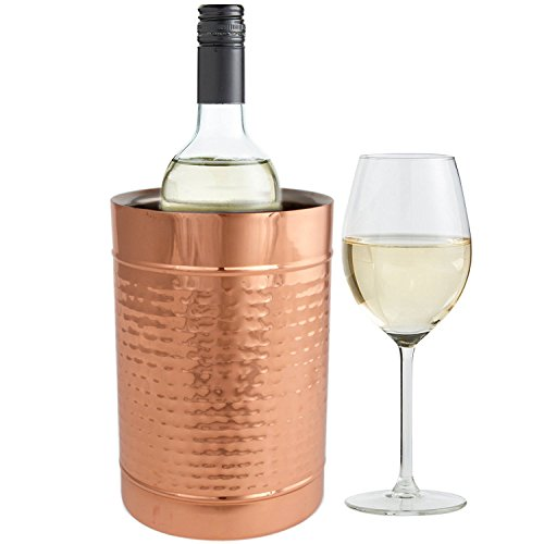 Copper Double Wall Wine Cooler - Insulated Cooler Ice Bucket - Champagne Bucket or Wine Chiller Bottle Cooler