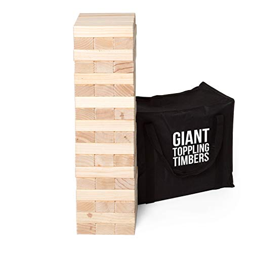 Play Platoon Giant Toppling Timbers - Large Tumbling Wood Tower Outdoor Game with Carrying Case