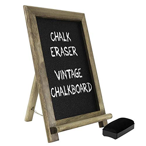 (PatyHoll Mini Vintage Chalkboard Free Standing Wood Frame Blackboard with Support for Bar Restaurant Home Decor Interior Design)