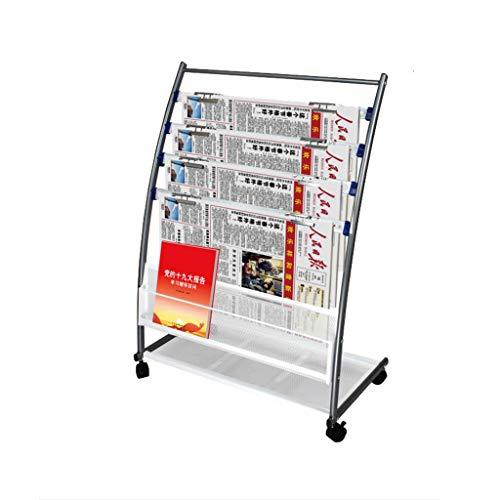 (Floor-Down Minimalist Newspaper Stand, Dual-Purpose Newspaper Stand/Magazine Rack, Iron Rolling with Brake Files Rack/Propaganda Frame)
