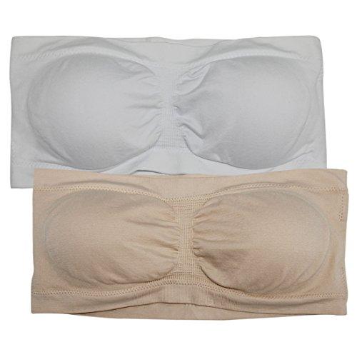 Soft Bra Top (NEUYILIT Women's Strapless Bra Padded Stretch Seamless Tube Top Bra by Size M Pack Of 2, White & Nude)