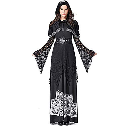 Gothic Evil Spider Witch Queen Costumes Cosplay Black Witch Uniform Halloween Carnival Party Fancy Dress(XL)]()