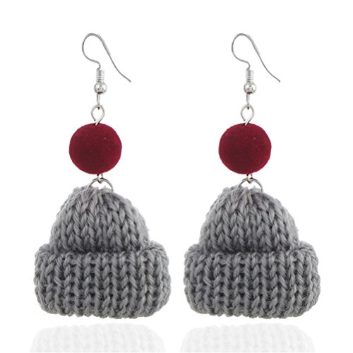 (Wool Cap Earrings Handmade Women Fashion Jewelry Valentine's Day Gift)