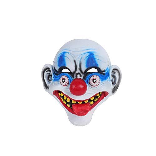 Halloween Carnival 3D Stereo PU Foam Funny Horror Big Tongue Clown Mask Cosplay White]()