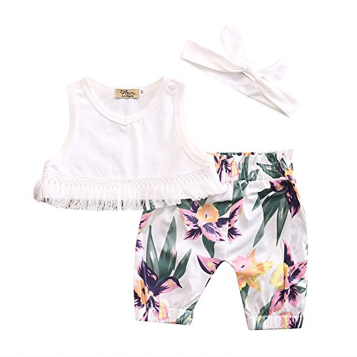 3 Pcs Newborn Baby Girls Short Set White Tassle Crop Top Floral Print Short Outfit with Headband (12-24 Months)