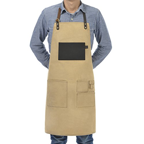 VEEYOO Heavy Duty Waxed Canvas Utility Apron with Pockets, Adjustable Shop Apron for Men and Women, Tan, 27x34 inches (Halloween Beer Commercial)