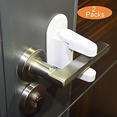Child Safety Door Lever Lock - MEINAIER Child Proof Doors Handle Lock 3M Adhesive Baby Proof Door Lock for Kitchen Bathroom Bedroom Front Gate(2 Packs)