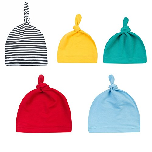 Menglihua Unisex Newborn Toddler Infant Cotton Soft Cute Lovely Adjustable Knot Hat 5PACK One (Hanna Buckle)
