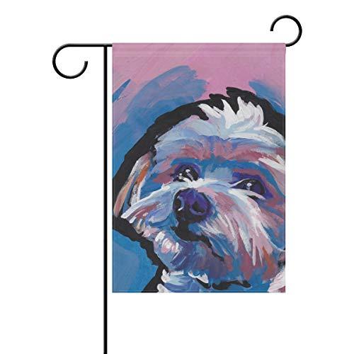 FannyMT Home Garden Flag Morkie Maltese Yorkie Dog- Decorative Double Sided House Flag, 12