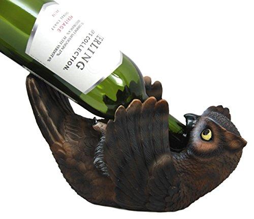 Atlantic Collectibles Americas Great Horned Owl Wine Bottle Holder Caddy Figurine (Greek Wine Cellars)