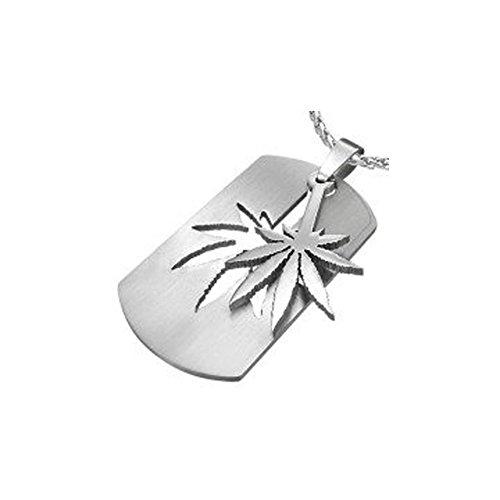 Rectangle-2pc-Sectional-Marijuana-Leaf-Necklace-Dog-Tag-Pot-Leaf-Emblem-Decal-Pendant-w-Chain-420-Hemp-Marijuana-accessories-Cannabis-Novelty-Marijuana-Weed-Jewelry