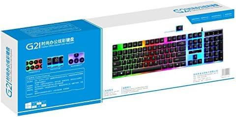 Color : Black Black Length: 1.3m DUANDETAO G21 USB 104-keys Waterproof Floating Round Punk Keycap Colorful Backlight Mechanical Wired Keyboard