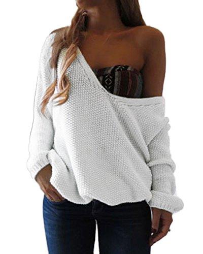 ZANZEA Cuello-V Suéter Mujer Pullover Tejido de Punto con Manga Larga de Otoño Invierno blanco