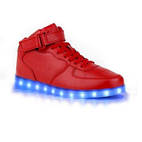 (Present:small towel)JUNGLEST® 7 Farbe USB Aufladen LED Leuchtend Sport Schuhe Sportschuhe Sneaker Turnschuhe für Unisex-Erwachse Red High-Top 64VMDLKTtw