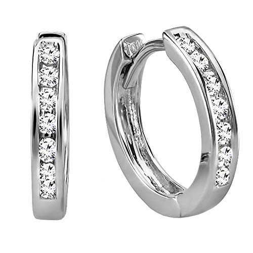 (Dazzlingrock Collection 0.18 Carat (ctw) 10k Small Round Diamond Huggie Hoop Earrings, White Gold)