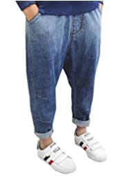 pipigo Boys Childrens Elastic Waist Denim Clothes Jeans Pants