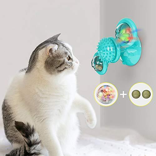 Ossky Windmühle Katzenspielzeug Spielzeug mit Katzenminze Ball und LED Ball Cat Turntable Teasing Interaktives Spielzeug…