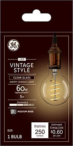GE Lighting 36518 Clear Finish Light Bulb Dimmable LED Vintage Style G25 Decorative Globe 5 (60-Watt Replacement), 250-Lumen Medium Base, 1-Pack, Soft White