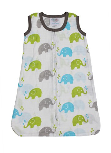 Bacati Elephants Wearable Blanket, Aqua/Lime/Grey, Newborn