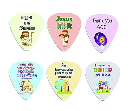 Christian Bible Verse Guitar Picks for Kids (12-pack) - FREE 1 Cute Guitar Pick Holder Wallet - Stocking Stuffers for Birthday Easter Sunday School Thanksgiving Christmas NewEights 787392511139