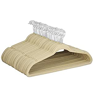 Yaheetech 100 Pack 360° Swivel Velvet Clothes Coat Hangers Non Slip (Beige)
