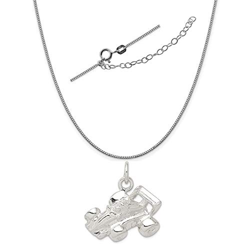 Sterling Silver Race Car Charm on a 0.90mm Box Chain Necklace, 18