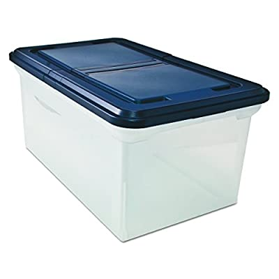 Advantus Extra Capacity 23-Inch File Tote, Letter Size, Clear Base/Navy Lid, Case of 4 (55797CT)