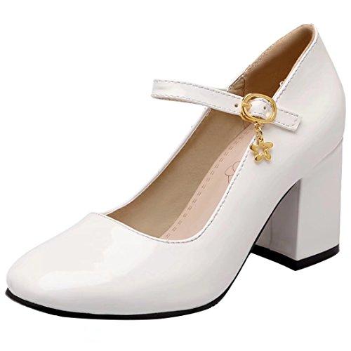 AIYOUMEI Lack High Heels Pumps mit 7cm Absatz Blockabsatz Mary Jane Damen Hochzeitschuhe Weiß