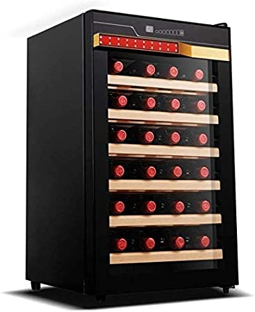 JJLL 28 Botella termoeléctrica Vino Blanco Rojo Y Refrigeración/Chiller Mostrador Bodega con Digital Pantalla de Temperatura, Independiente Frigorífico Cristal Ahumado Puerta Funcionamiento Silencio