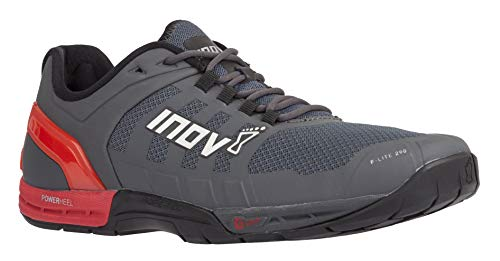 Inov-8 Mens F-Lite 290 - Ultimate Cross Training Shoes - Power Heel - Performance Trainer for Gym and Weight Lifting - Grey/Red M9/ W10.5