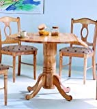 Natural Finish Wood Napolean Round Dining Table w/Drop Leaf