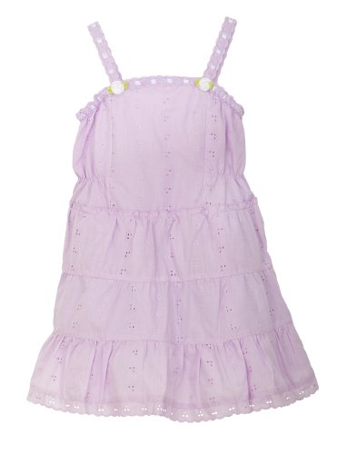 Little Bitty Eyelet Sundress with Extra Wide Hem and Hat , LILAC, 6 (Little Bitty Hat)