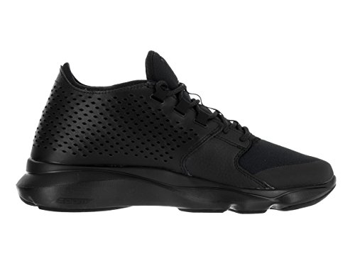 Jordan Flow Mannen Ronde Neus Lederen Zwarte Basketbalschoen Zwart / Zwart