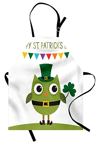 St Patrick Day Costume Ideas (Ambesonne St. Patrick's Day Apron, Owl with Leprechaun Costume Greeting Design for Party Shamrock Pattern, Unisex Kitchen Bib with Adjustable Neck for Cooking Gardening, Adult Size, Green)