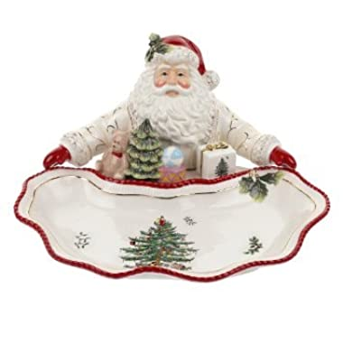 Spode Christmas Tree Santa Dish, Gold