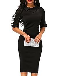 Women's Retro Bodycon Below Knee Formal Office Dress...