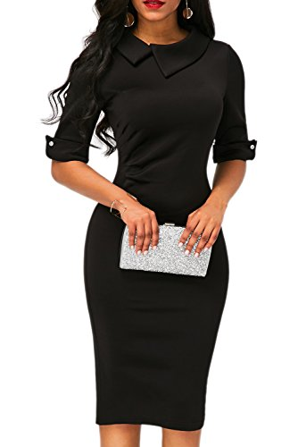 Women's Slim Fit Solid Color Elbow Sleeve Semi Formal Dress Pencil Dress Black X-Large