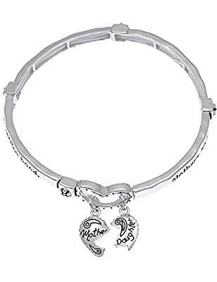 "Mother & Daughter Heart Charm Bangle Bracelet. ""Mothers & Daughters Share an Everlasting Bond."""