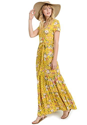 Tickled Tunic Floral Print Full Flowy Bottom Long Maxi T Shirt Dress Casual Knit Boho Summer (Small, Mustard Yellow) ()