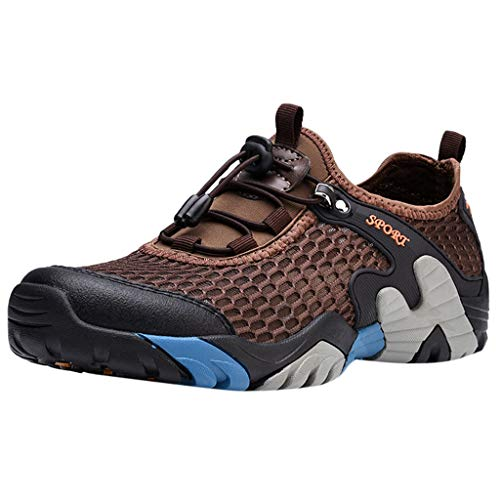 JUSTWIN Men's Non-Slip Hiking Shoes Outdoor Hiking Anti-Skid Non-Slip Cross-Country Shoes Brown