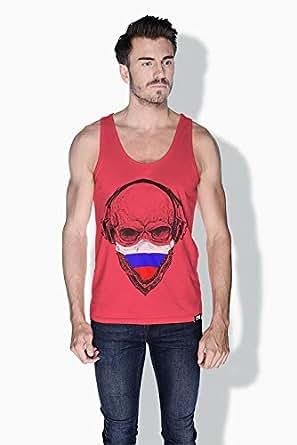 Creo Russia Skull Tanks Tops For Men - Xl, Pink