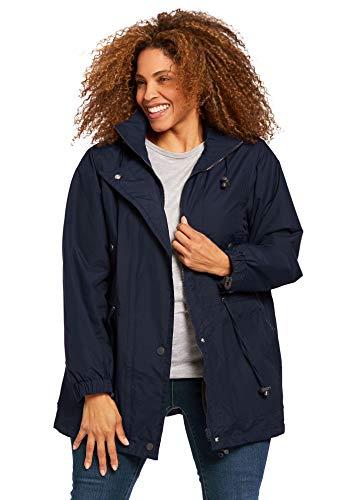 Woman Within Plus Size Women's Plus Size Fleece-Lined Taslon Anorak - Navy, M