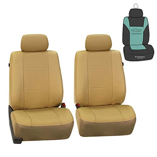 FH Group PU007102 Deluxe Leatherette Front Set Seat Covers, Airbag Compatible, Beige Color w. Gift- Fit Most Car, Truck, SUV, or Van