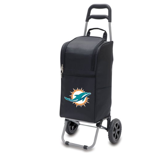 NFL Miami Dolphins Insulated Cart Cooler with Wheeled Trolley, Black