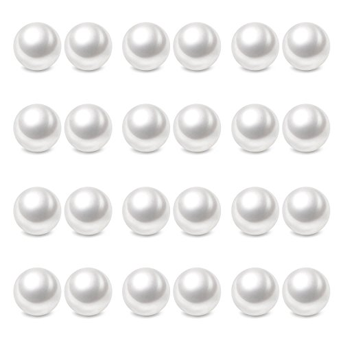 Charisma 8mm Composite Pearl Earrings Round Ball Pearls Stud Earrings Hypoallergenic 12 Pairs Imitation Pearl Earrings Set for Girls Women -