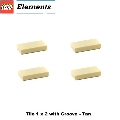 Lego Parts: Tile 1 x 2 with Groove (PACK of 4 - Tan) (Hotel 21017 Imperial)