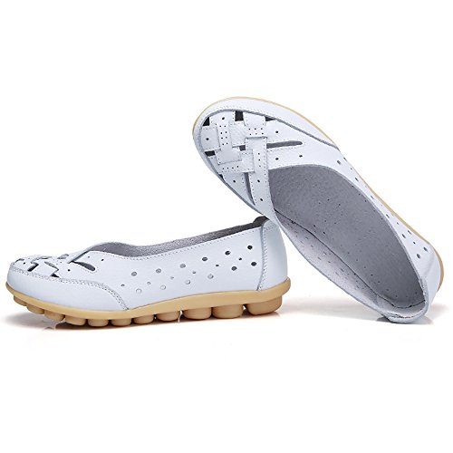 Sunnywill Casual Sandales Rondes Blanc Dames Femme Flats Chaussures Chaussures Cuir Pois Trou OxIwOnrSqz