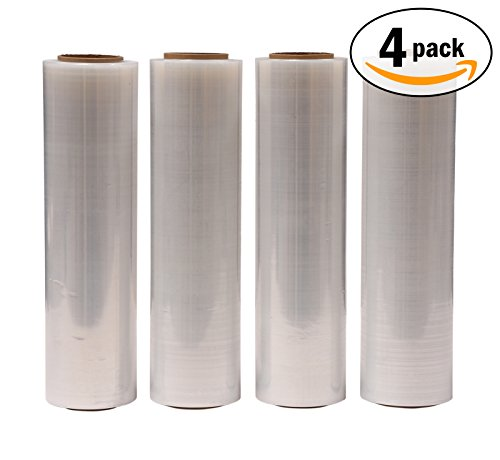 AMERIQUE Shrink Wrap 4 Pack (4000FTX18, 25.2 LBS Total): Stretch Film Plastic Wrap - Industrial Strength Hand Stretch Wrap, 18x 1,000 FT Per Roll, 80 Gauge Shrink Film / Pallet Wrap – Clear