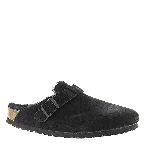 Birkenstock Boston Black With Black Shearling Suede Clogs 42 M (US Women's - Where Boston Is Downtown