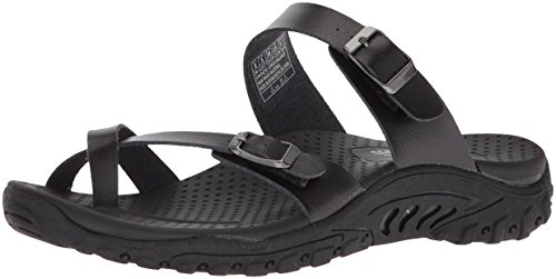 Skechers Women's Reggae-Carribean - Double Buckle Toe Thong Slide Sandal, Black, 5 M US